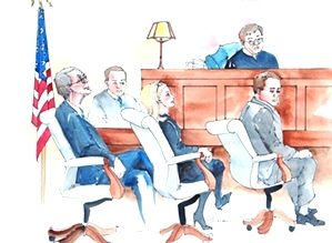 Judge Richard Baumgartner and defense team, Don Bosch